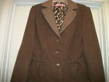 STEAMPUNK LADY PROFESSOR BROWNS TWEED FEMME SUIT FITTED JACKET CURVE POCKET M