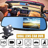 4.3 1080P Dual Lens Car Auto DVR Mirror Dash Cam Recorder Rear View Camera【US】