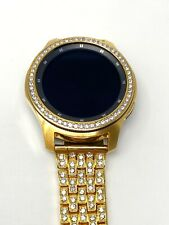 24K Gold 46MM Samsung Galaxy Watch Gold Link Band Diamond R Band And Bezel