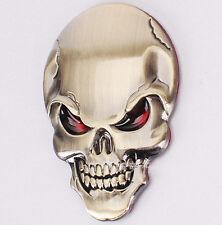 GOLD Devil Demon Skull Skeleton Mask 3D Car Sticker Badge Decal Emblem UK