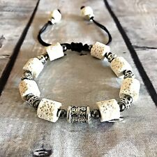 Aromatherapy Bracelet  Diffuser Adjustable Large Size White Lava Silver  Summer
