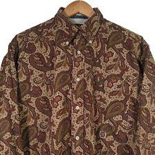 Vintage TOMMY HILFIGER Brown Paisley Crazy Pattern Button Up Shirt - Mens Medium