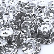 Silver Rhinestone Shamballa Beads Spacers Rondelle Round Bracelet Necklace Watch