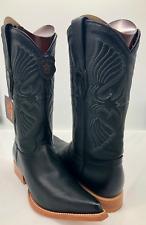 Men's Cowboy Boots Genuine Deer Skin Leather Black 8