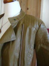 Ladies M&S COLLECTION tan faux leather JACKET COAT UK 10 petite biker bomber