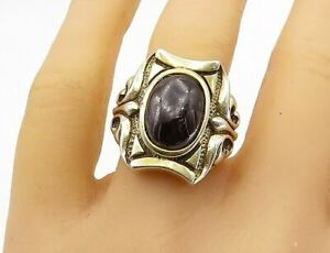 925 Sterling Silver - Vintage Large Black Onyx Cocktail Ring Sz 11.5 - R16666