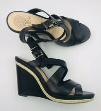 Vince Camuto Black Leather Wedges Heel Strappy Sandals Size EU40 AU10