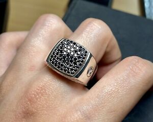 David Yurman Pave Black Diamonds Signet Ring 10.5