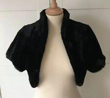 Coast Camilla Black Soft Silky Faux Fur Jacket Shrug Bolero S/M 10/12 £89 BNWOT