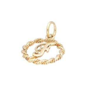 9Carat Yellow Gold 'F' Initial Charm (13mm Diameter)
