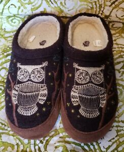 Acorn Women's Slippers Forest Brown Owl Sizes 8-9