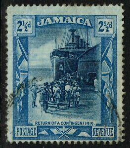 SG 82 JAMAICA 1921 - TWOPENCEHALFPENNY DEEP BLUE & BLUE - USED