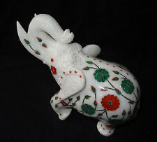 Marble Trunk Up Elephant Figurine Inlay Floral Marquetry Statue Good Luck Gift