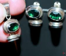 PRIVATE COLLECTION~ARTISAN~925 SILVER~TEAL TOURMALINE~/ONYX~PENDANT&EARRINGS