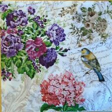 TWO (2) Paper Luncheon Napkins for Paper Crafts, Floral, Birds, Garden