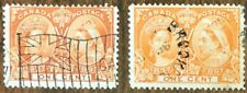 CANADA 1897 QUEEN VICTORIA JUBILEE #s 51, 51i 1 cent ORANGE/YELLOW ORANGE USED