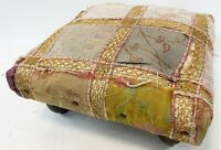 """Vintage 14"""" India Handmade Gold Embroidery Floral Patch Work Foot Stool Ottoman"""