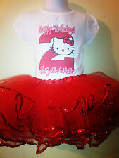 Hello Kitty Dress w NAME & Birthday Number 1T,2T,3T,4T,5T,6T.7T 2Pc Personalized