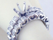 HEART SHAPE SEMI MOUNT WEDDING SET RING 14K SOLID WHITE GOLD