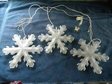 1 Strand of 3 Frosted Flashing Snowflake Christmas Holiday Hanging String Lights