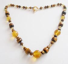 VINTAGE FACETED AMBER GLASS CRYSTAL GENUINE TIGERS EYE GEMSTONE BEADS NECKLACE