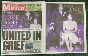 Sunday Mirror Newspaper; Prince Philip Tribute, Duke of Edinburgh 11/04/2021