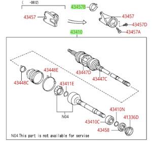 Toyota Sienna 2004-2010 RH Drive Shaft Assembly Genuine OEM