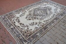 Turkish Oushak Handmade Art Carpet Pastel Beige Dark Gray Floral Design Area Rug