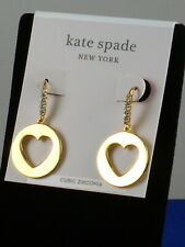 Kate Spade Gold Plated SYMBOLS Cutout Heart Disc Drop Earrings WBRUH347 $68