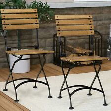 Sunnydaze Basic European Chestnut Wooden Folding Bistro Armchair - Set of 2