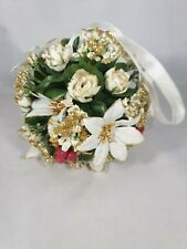Vintage Christmas Artificial Topiary Poinsettia Glittered Ball - 1980s