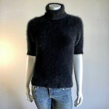 "Fuzzy 70% Angora Vintage Limited Black Short-Sleeve Turtleneck Sweater 32""-Bust"
