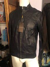 Gucci Men's Navy Blue Leather Bomber Jacket Sz 50eu Medium NWT