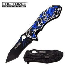 """8"""" BLUE SPIDER TAC FORCE SPRING ASSISTED FOLDING KNIFE Blade pocket open switch"""