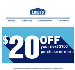 2X Lowes $20 OFF $100-ONLINE-_FAST_SENT  MESSAGE Delivery-EXP1/31