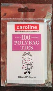 "2 PACKS of 100 X POLYBAG TIES / WIRES 100MM(4"") FREEZER / FOOD BAGS Closures"
