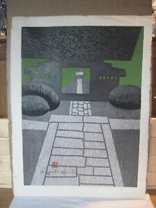 Kiyoshi Saito Japanese woodblock print Jyoko Temple Kaminoyama 1962, signed
