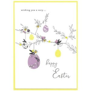 Handmade Eggs On The Branch Happy Easter Card – Luxury Design with 3D detailing