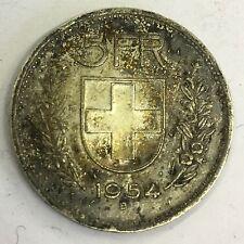 Switzerland Swiss 5 Francs Silver Coin 1954 B
