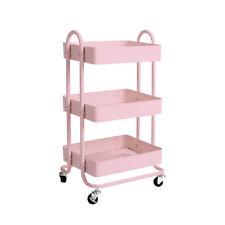 3 Tiers Kitchen Trolley Cart Steel Storage Rack Shelf Organiser Wheels Pink