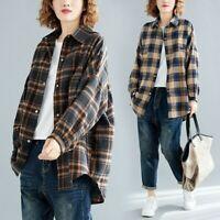 Women Cotton Plaid Shirt Blouse Top Casual Loose Baggy Oversized Vintage Classic