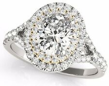 Wedding Ring 14k White & Yellow Gold 0.90 Ct Oval Cut Double Halo Engagement