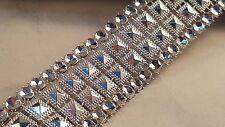 3cm - 1 metros Hermosa Plata Metal Con Cuentas Diamante Efecto de malla de encaje de corte Chispa