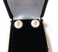 Diamond pearl Stud earrings 14 Kt Gold