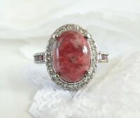 Sterling Silver 925 Pink Rhodolite Rhodonite Garnet Vintage Style Ring Size 8