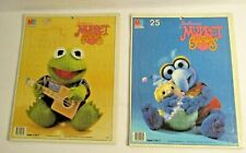 2 Vtg 1984 Frame Tray Puzzle Muppet Babies Kermit Gonzo 25 Pieces 11.5 X 14.5