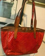 BRIGHTON PIXIE cut out RED HEARTS Patent Leather LG TOTE Shopper HANDBAG Purse *