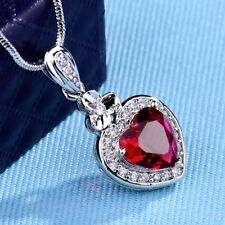 Lady Red Garnet Crystal Silver/Gold Wedding Heart Pendant Chain Necklace Jewelry