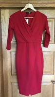NWT Ladies Dress Sz 8 3/4 Sleeve Bodycon Wiggle Pencil Glam Party Wrap BooHoo