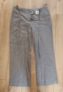 TU - Womens Brown belt tie waisted casual Linen Trouser. Size 16. NEW